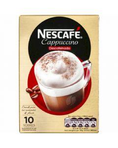 Cafe soluble descafeinado capuccino nescafe 10 sobres