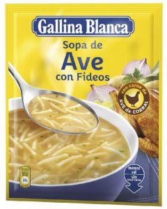 Sopa con fideos ave gallina blanca 76g