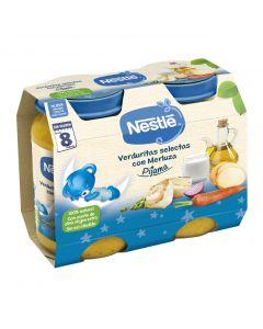 Tarrito de verduras y merluza nestlé pequecena pack de 2 unidades de 200g