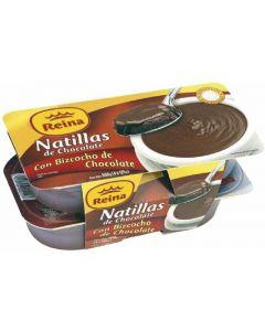 Natillas de bizcocho de chocolate reina pack de 4 unidades de 125g