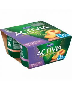 Yogur s/lactosa 0% melocoton activia p-4x125g