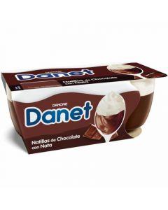 Natillas de chocolate y nata danet pack de 2 unidades de 100g