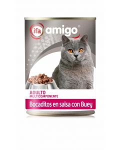 Comida húmeda para gatos bocaditos buey ifa amigo 415g