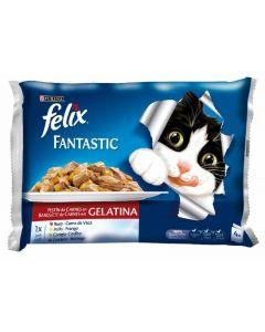Comida húmeda para gatos con carne felix pack de 4 unidades de 100g