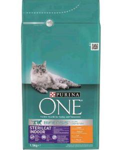 Comida seca para gatos esterilizados con pollo one 1,5kg