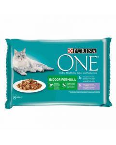Comida gato ternera/atun purina one p4x85g