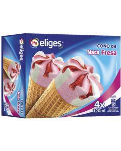 Helado cono de nata y  fresa ifa eliges p4x120ml