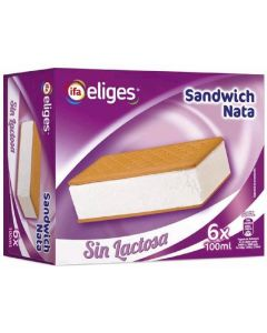 Helado sandwich de nata sin lactosa ifa eliges pack de 6 unidades de 100ml