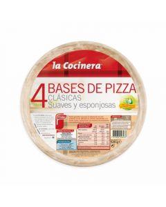 Bases para pizza la cocinera pack de 4 unidades de 130g