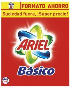 Detergente polvo básico ariel 60 dosis 3,9 kilos