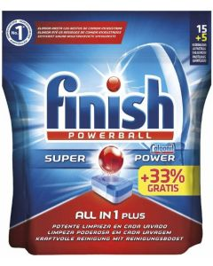Lavavajillas máquina pastilla regular finish ten1 15+5 dosis