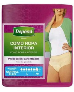 Pants para mujer talla l depend pack de 9 unidades
