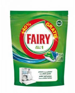 Lavavajillas máquina pastilla fairy todo en 1 14+2 dosis