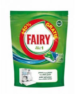 Lavavajillas a máquina en pastillas fairy todo en 1 14+2 dosis