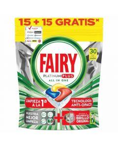 Lavavajillas a máquina en pastillas aroma limón fairy platinum plus 15+15 dosis