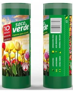 Bolsa de basura verde jardin plasbel 85x102 120l 10ud
