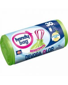 Bolsa de basura devora olor  handy bag 30 litros  15ud