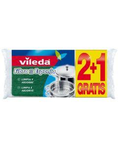 Estropajo multisusos antibacterias de fibra con esponja vileda pack de 2 +1 unidades