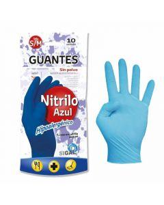 Guantes de nitrilo azules talla mediana sigal pack de 10 unidades