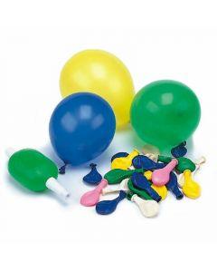 Globos de colores surtidos con hinchador papstar pack de 50 unidades