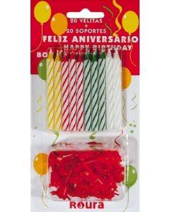 Vela de cumpleaños roura pack 20 unidades surtidas