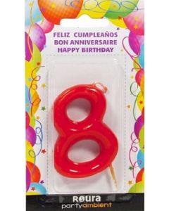 Vela de cumpleaños nº 8 roja roura