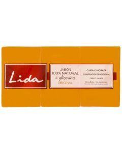 Jabón para tocador con glicerina 100% natural lida pack de 3 unidades