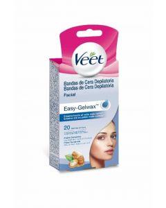 Bandas de cera depilatorias faciales para piel sensible veet pack de 20 unidades
