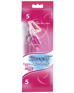 Maquinillas de afeitar con 2 hojas rosa simply venus pack de 5 +1 unidades