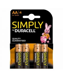 Pilas alcalinas aa lr06 simply by duracell pack de 4 unidades