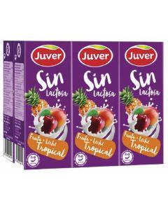 Bebida funcional de frutas y leche tropical sin lactosa juver pack de 6 unidades de 20cl