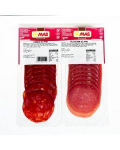 Chorizo+salchichon pavo mas lonchas p2x75gr