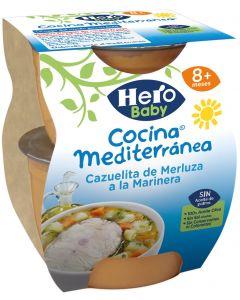 Tarrito cazuelita de merluza a la marinera hero cocina mediterránea pack de 2 unidades de 200g