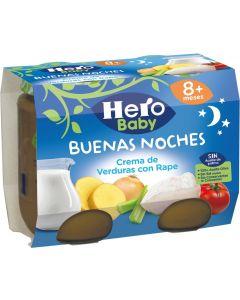 Tarrito de verduras y rape hero buenas noches pack de 2 unidades de 200g