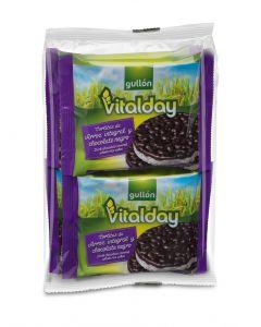 Tortitas de arroz con chocolate negro gullón pack de 4 unidades de 105g