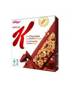Barritas de cereales con choclate con leche special kelloggs un paquete de 6 unidades de 20g