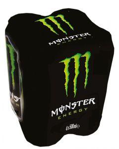 Bebida energética carbonatada green monster lata pack de 4 unidades de 50cl