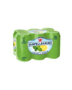 Agua mineral con gas limón y menta san pellegrino 33cl