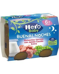 Tarrito de guisantes y jamón hero buenas noches pack de 2 unidades de 200g