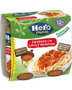 Tarrito de spaghetti con carne verduras hero pack de 2 unidades de 250g