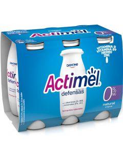 Bebida láctea natural 0% actimel pack de 6 unidades de 100g