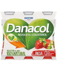 Bebida láctea  fresa danacol pack de 6 unidades de 100g