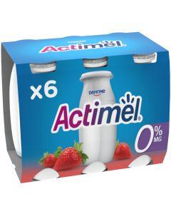 Bebida lactea fresa 0% actimel pack de 6 unidades de x 100g