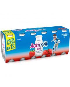 Bebida lactea fresa actimel pack de 12 unidades de 100g