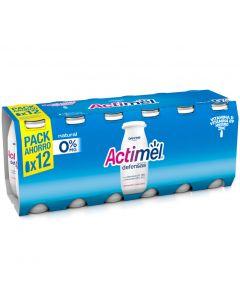 Bebida láctea desnatada 0% actimel pack de 12 unidades de 100 g
