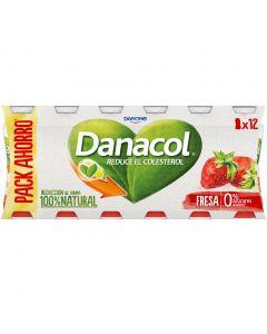 Bebida lactea fresa danacol pack de 12 unidades de 100g