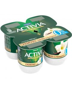 Yogur cremoso 0% de vainilla activia pack de 4 unidades de 120g