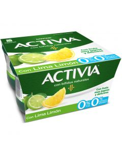 Yogur 0% lima limon activia pack de 4 unidades de 125g