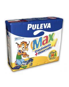 Leche con cacao y cereales puleva max pack de 3 unidades de 200ml