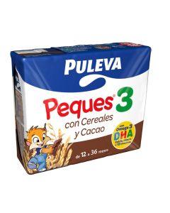 Leche líquida de crecimiento peques3 con cereales y cacao puleva pack de 3 unidades de 200ml